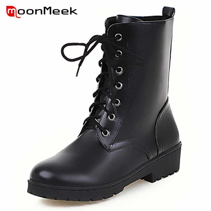MoonMeek yeni moda 2020 sıcak satış kadın marka botları sonbahar kış yarım çizmeler bayanlar serin KADıN botları dantel düşük topuk ayakkabı
