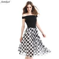 Aamikast Elegant Vintage Summer Sexy Backless Chiffon Dot Tunic Pinup Wear To Work Office Casual Party PleatedSkater Dress