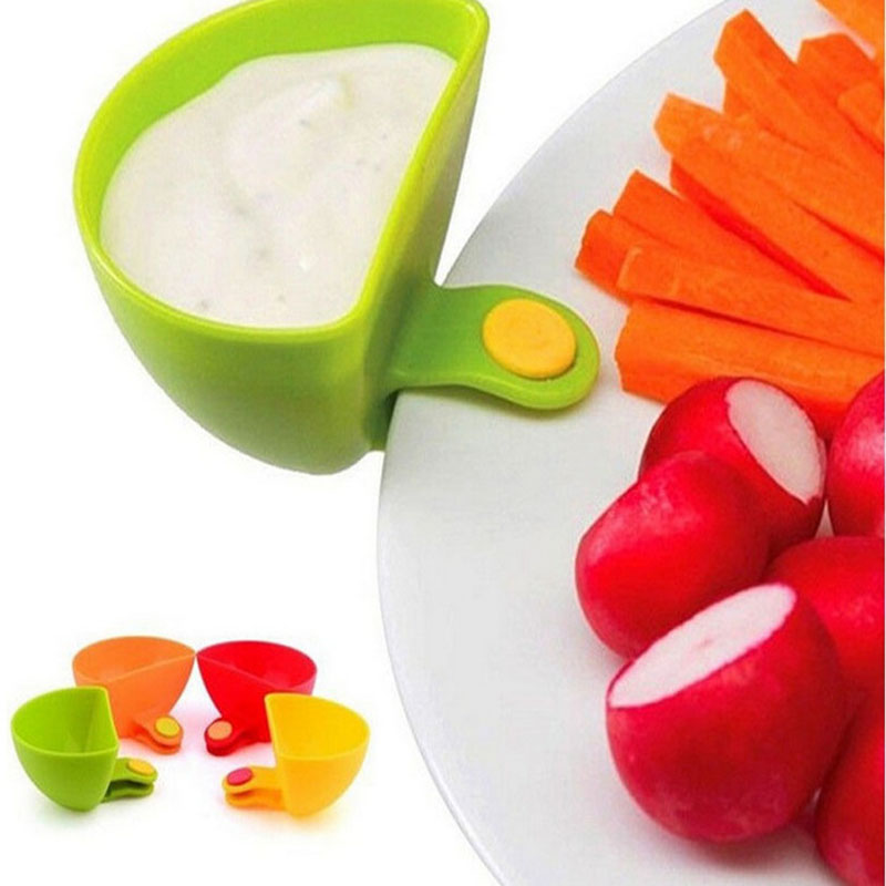 4PCS/lot Dip Saucers Assorted Salad Sauce Ketchup Jam Dip Clip Cup Bowl for Tomato Salt Vinegar Sugar Flavor Splice image
