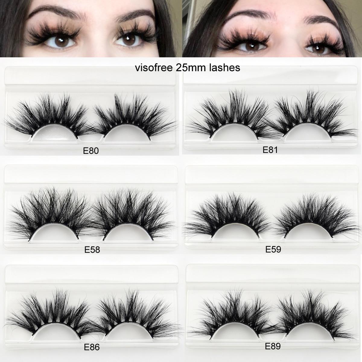 Visofree 25mm Lashes 3D Mink Eyelashes Cruelty Free 25mm Mink Lashes Handmade Crisscross Dramatic Eyelashes Faux Cil Makeup Lash