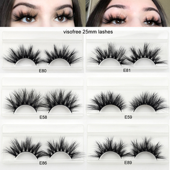 Visofree 25mm lashes 3D mink eyelashes cruelty free 25mm mink lashes handmade crisscross dramatic eyelashes faux cil makeup lash