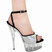 Flash poeder crystal met 15 cm super hoge hakken sandalen met club schoenen fabriek koop groothandel kleine werven van schoenen