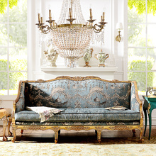 French neo-classical European white beech Tiffany blue gray living room sofa fabric three bits