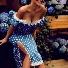 цена на Polka dots print off shoulder dress women Ruffles sleeve side slit slim fit midi dress Elegant bodycon party dresses Vestidos