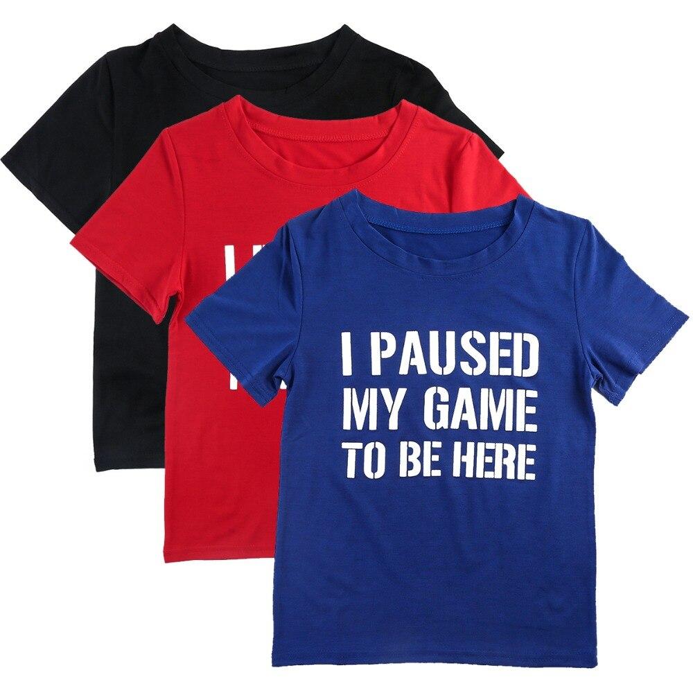 Kids T-Shirt Boy Girl Short sleeve I Paused My Game Tee Cotton Casual Tee Shirts