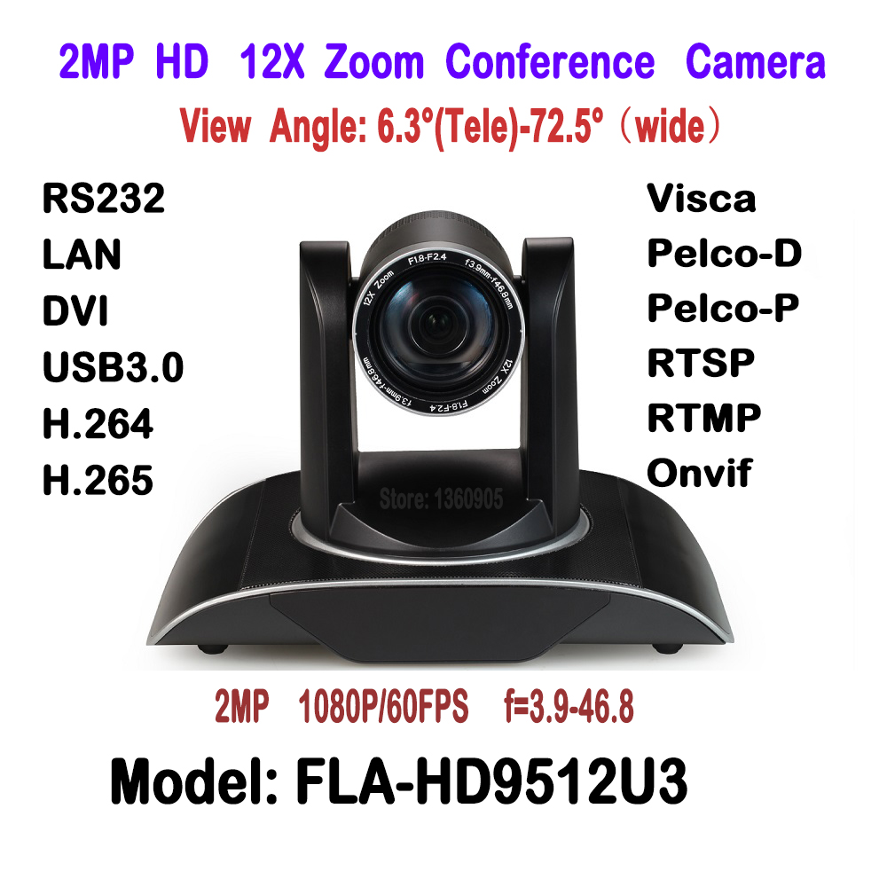 H.265 1080p 60fps 2MP Realtime 12X Zoom HD PTZ Video Conference Meeting Camera Onvif RTSP with DVI/USB3.0/LAN IP/RS232 Interface ikecix u12x 2m 12x zoom usb 1080p video conference camera microphone