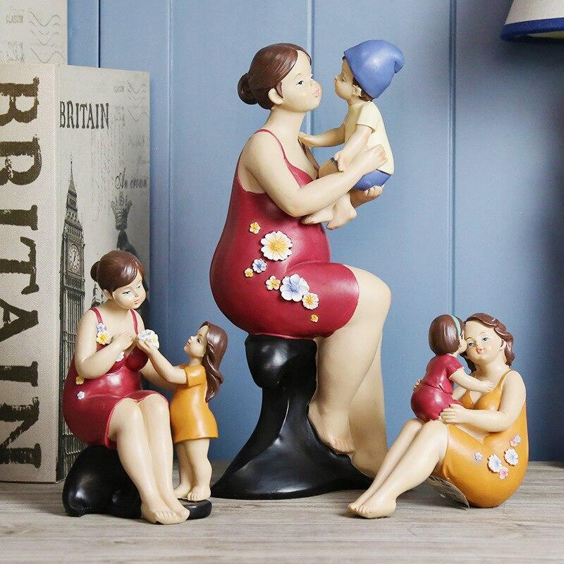 Mère américaine aime la famille chaude décoration série de personnages de résine artisanat décoratif ameublement cadeau de fête des mères - 2