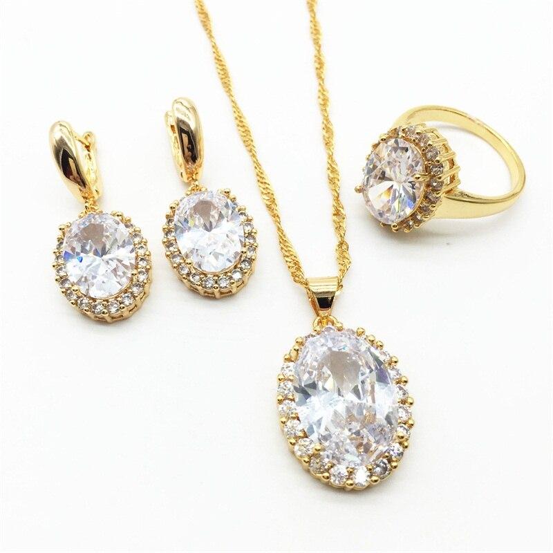 40d9cdf4ce044 الفضة قلادة قلادة أقراط الطوق الحجم 6 7 8 9 10 الذهب الأبيض اللون الزركون  المجوهرات مجموعات للنساء شحن مجاني