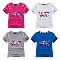 Camiseta de los muchachos Muchachas de la Marca Famosa Moda Niños Camiseta los Colores Del Caramelo 100% de Algodón Niños Patrón de la Letra Camisa de Verano Tee
