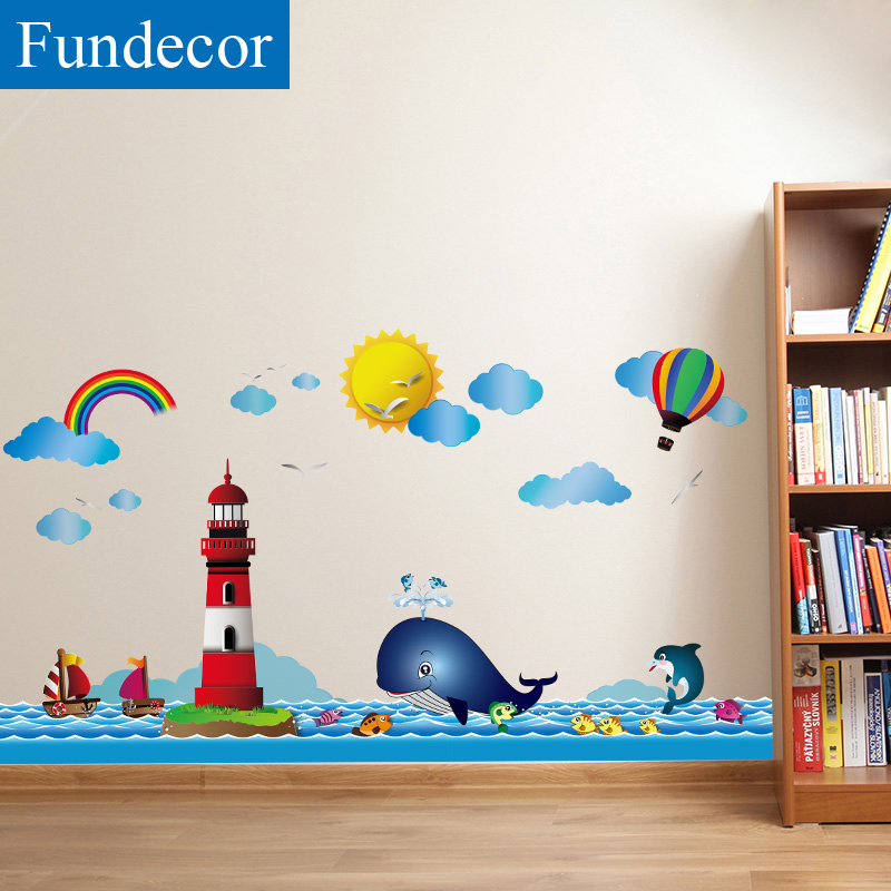 [Fundecor] Ocean Lighthouse Cartoon Childrens Wall Sticker For Kids Rooms Bathroom Tiles Wall Decal Mural Waterproof Home Decor