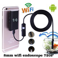 Mini 1 M/2 M/5 M 8mm Boroscopio Endoscopio Wifi Inalámbrico para iOS Android HD 720 P 2.0MP 6LED IP67 Impermeable Cámara de Inspección Del Tubo