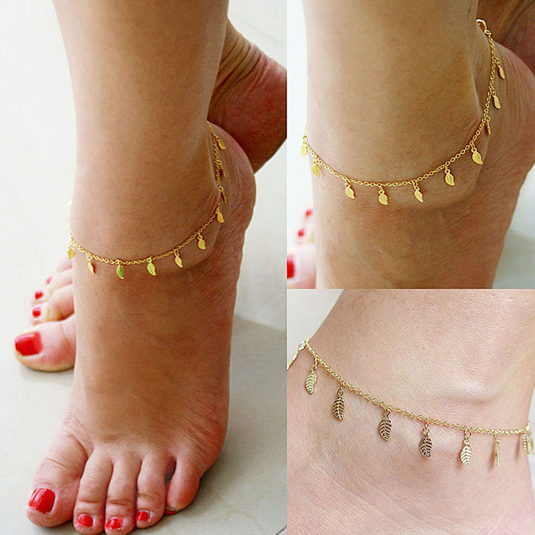 d9affcb9260 2015 Delicate Sexy Simple Gold Anklet Ankle Bracelet Leaf Foot Chain  Barefoot Sandals Adjustable Women Jewelry Summer Style