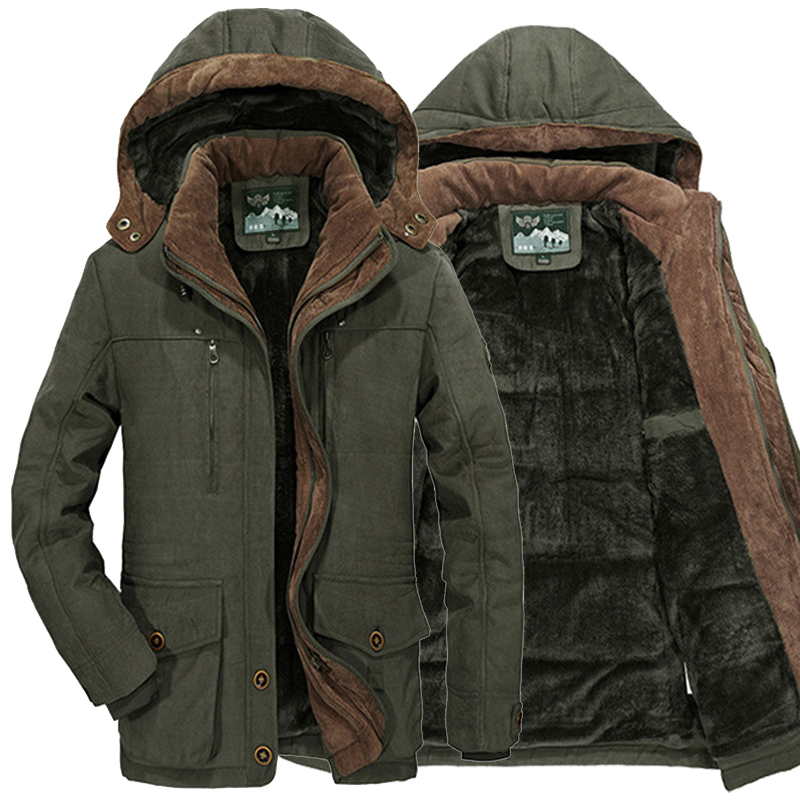 Plus Size L~5XL 6XL Men Winter Fleece Fur Warm Thick Jacket Cotton Soft Military Parka Jacket Men Detachable Hood Coat Jacket(China)