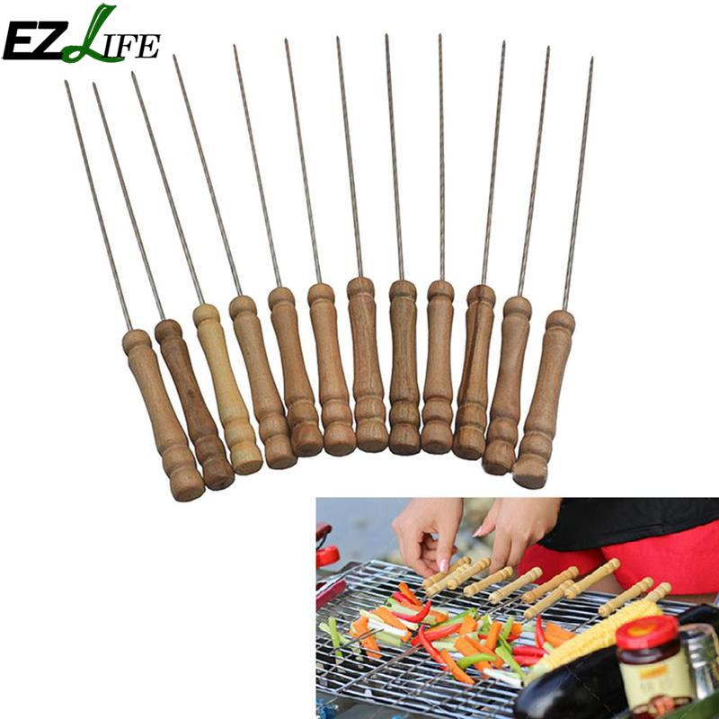 EZLIFE 10 PSC Wood Stainless Steel Needle Barbecue Skewers BBQ Cooking Tools For Picnic Camping Barbecue Skewers LPM5175