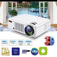 1080P HD 5000 светодио дный люмен 3D светодиодный проектор для домашнего кинотеатра Мультимедийный USB AV с пультом дистанционного управления для д