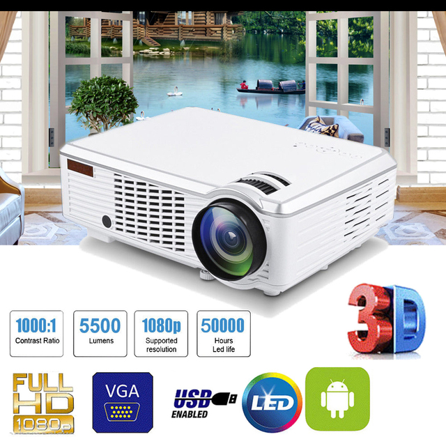 New Price 1080P HD 5000 Lumens 3D LED Projector Home Theater Cinema Multimedia USB AV with Remote Controller for Home Cinema TV Laptop Gam