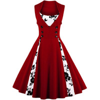 Women Dress 60s Party Style Sleeveless Patchwork Polka Dot Elegant Women Dresses Ladies Party Formal