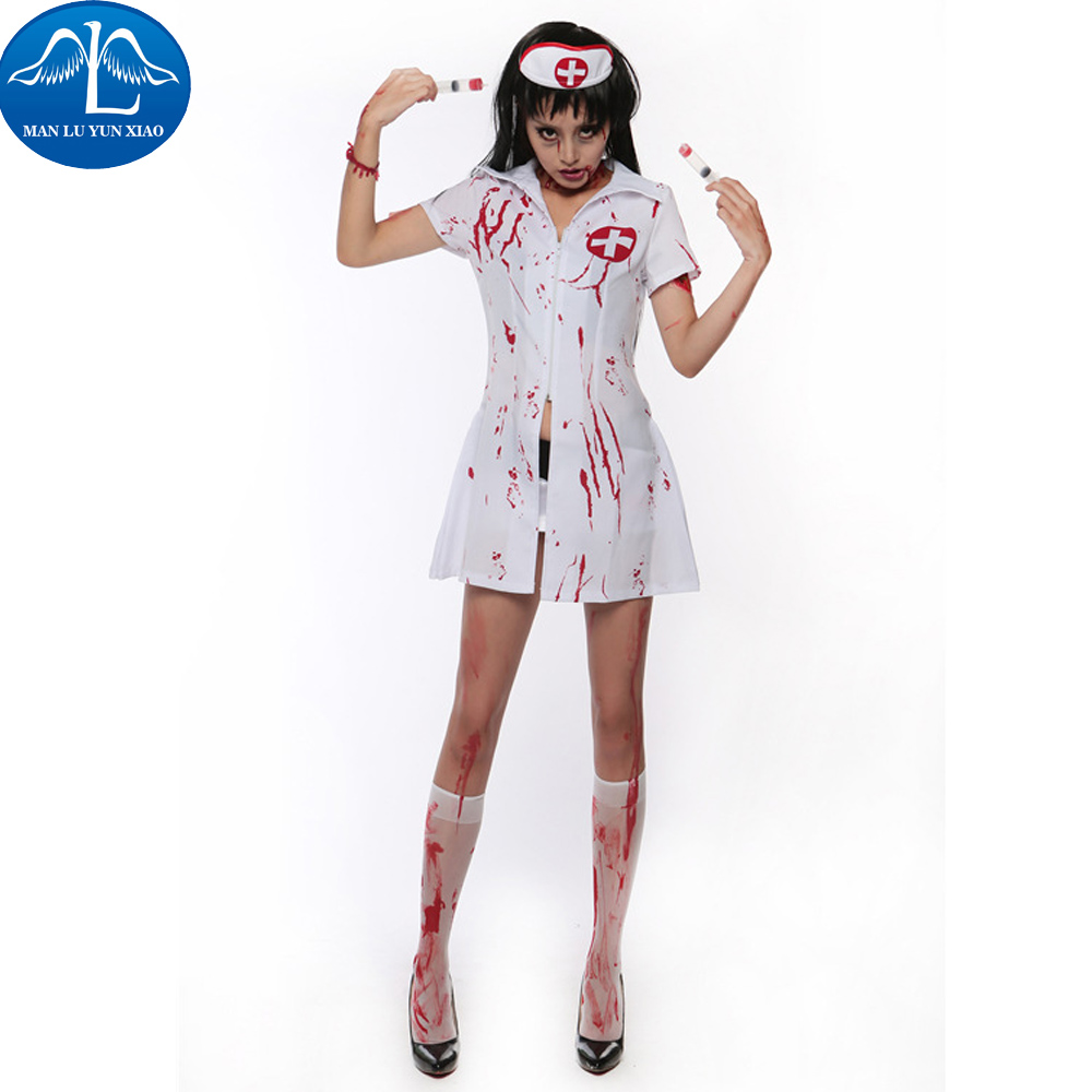 MANLUYUNXIAO Women Zombie Costume Scary Nurse Uniform Halloween Carnival Role Playing Costume Halloween Costumes For Women