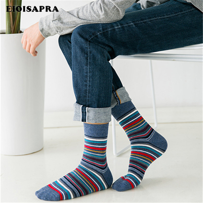 [EIOISAPRA]Harajuku Colorful Striped Business Happy Socks Men Casual Gentleman Meias Fashion Long Funny Calcetines Hombre