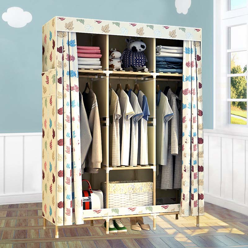 4 STYLE  Double solid wood wardrobe storage large combination of cloth wardrobe simple fabric solid wood wardrobe simple fashion moistureproof sealing thick oxford fabric cloth wardrobe rustproof steel pipe closet 133d