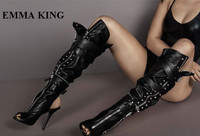 EMMA KING Open Toe Motorcycle Boots Summer Women High Heels overknee Party Shoes Women Side Zipper Fashion Women Boot 2020