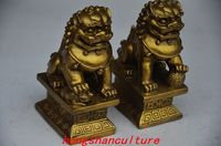 DECORATION CHINESE BRASS HANDMADE A PAIR LION STATUES