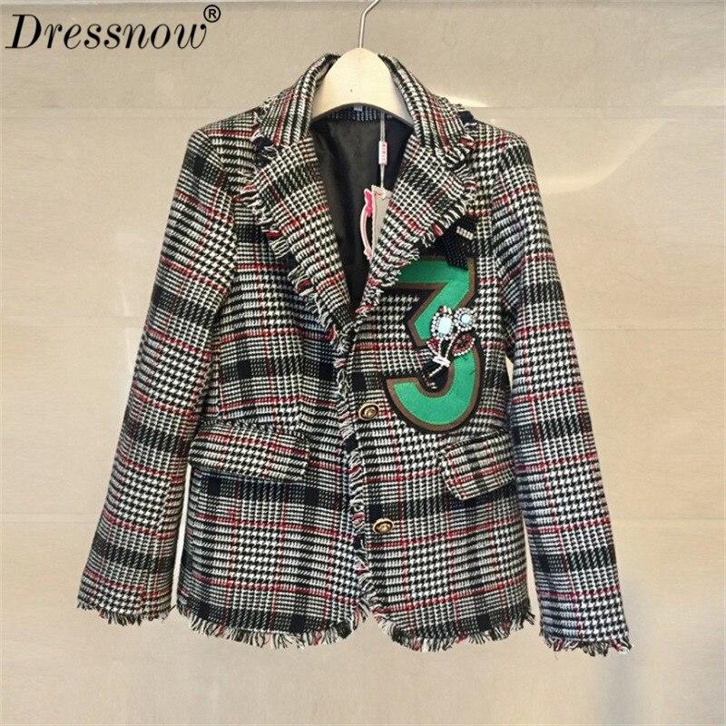 Femmes Manteau Outwear Pictured Dressnow Manteaux Veste D'hiver Qualité Longues Femme Lourd As À Tweed Manches Vestes Plaid Haute OOqpSrTE