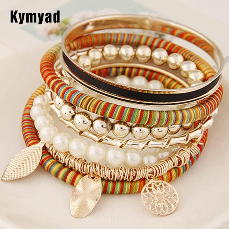 Kymyad Handmade Bracelets for Women Gold Color Multi Element Charm Bracelets & Bangles Sets Women Bijoux Bracelet Manchette