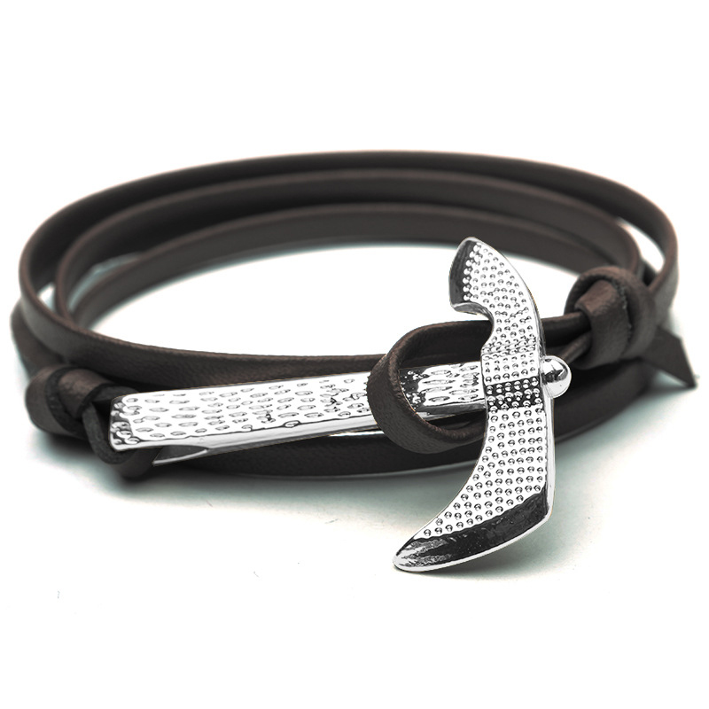 NIUYITID Antique Silver Ax Bracelet For Women Classic Man Jewelry Accessories Nautical Sailor Hatchet Pirate Bracelet  (5)