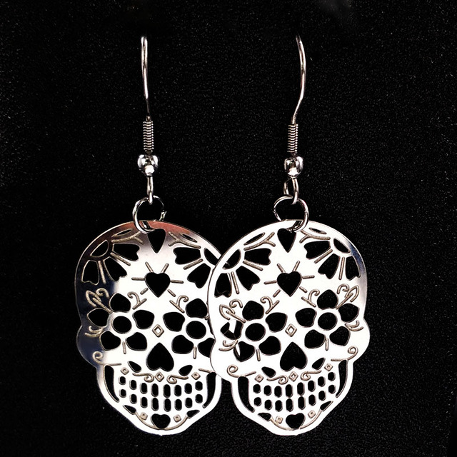 Skull Silver Hollow Drop Earring6