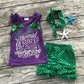 Verano de los bebés ropa de bebé girls boutique ropa para niñas sirena trajes deseos besos y estrellas de mar con diadema a juego