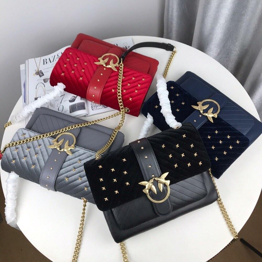 Sac à bandoulière biseafaéré 2019 hirondelle sacs de marque célèbre sac à main femme de qualité supérieure lettre en cuir véritable bolsas nouvelles chaînes à rivets