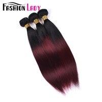 Fashion Lady Pre colored Brazilian Hair Straight Hair Bundles 3 Pcs Human Hair Bundles Ombre 1b 99j Red Bundles Non remy