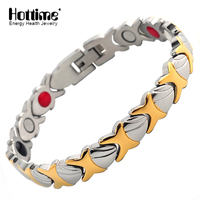 Hottime Fashion New Stainless Steel Negative Ion FIR Germanium Magnetic Health Bracelets Plated Gold For Men