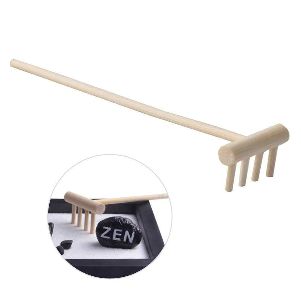 Home Figurines Miniatures Decor Natural Wooden Rake for ZEN Garden Sand Home Ornament Collectables Accessory x 1