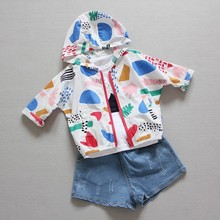 Retail ins boys and girls baby Sun protective clothing Fruits and Graffiti hooded children's outerwears handsome casual hoodies