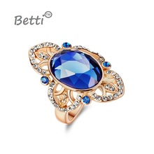 2016 new Luxury Retro Palace bride jewelry Oval Crystal Ring from SWAROVSKI for big party