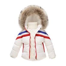 2016 Новые Девушки Зимние Куртки Мальчиков Куртка Пальто Твердые Девочка Snowsuit Толщиной Натуральный Мех С Капюшоном детская Duck Down куртка
