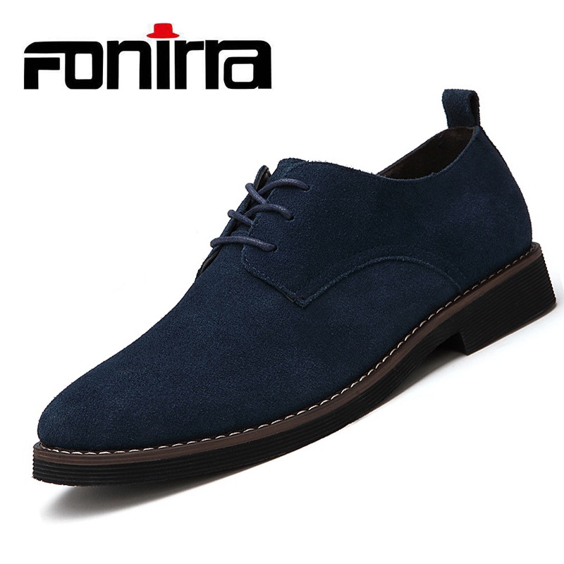 FONIRRA Brand Plus Size 48 Men Casual   Leather   Shoes Oxfords Faux   Suede     Leather   Male Dress Shoes Lace UP Flats Waterproof 047
