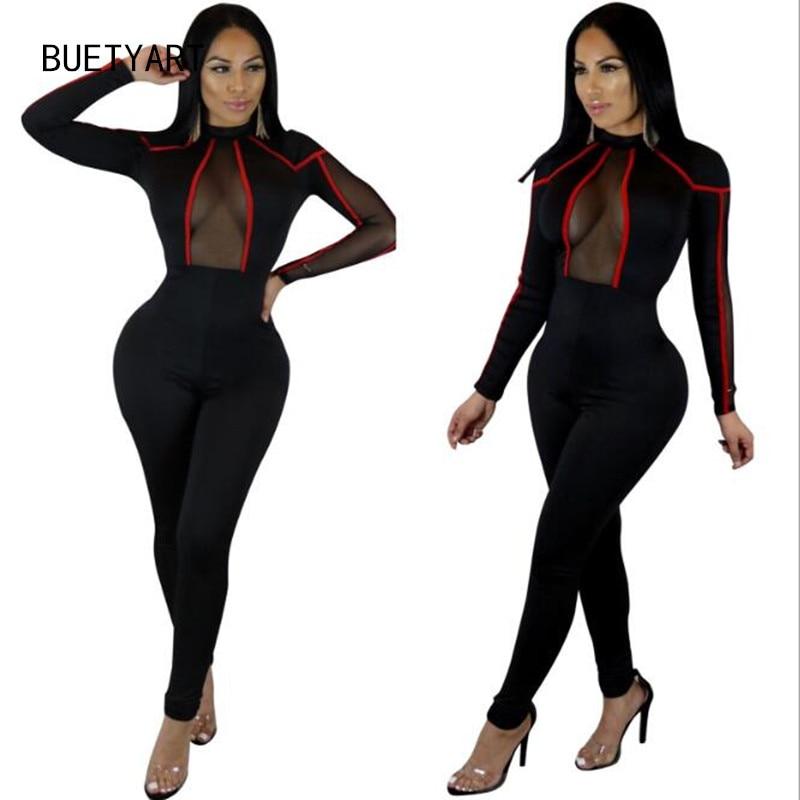 BUETYART Sexy V neck Wide Leg Pants Elegant jumpsuits romper Long Sleeve Plus Size tunic Overalls For Women