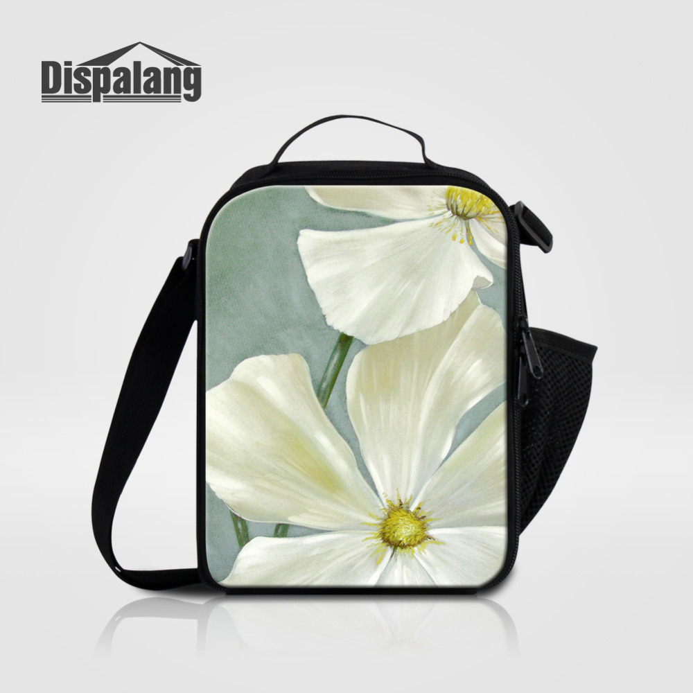 Dispalang Portable Insulated Kids Cooler Lunch Bag Flower Print Thermal Food Picnic Lunch Bags For Women Girl Lunch Box Bag Tote