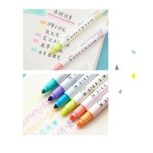 Image 4 - 4 satz/los Mild 12 farbe Highlighter marker Dual seite 3mm Bold 0,5mm Feine zeichnung stift Schreibwaren Büro Schule liefert A6103