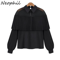 Neophil Women Plus Size Chiffon Ruffles Off Shoulder Blouses Shirts 2016 Tulle Mesh Patchwork Long Sleeve