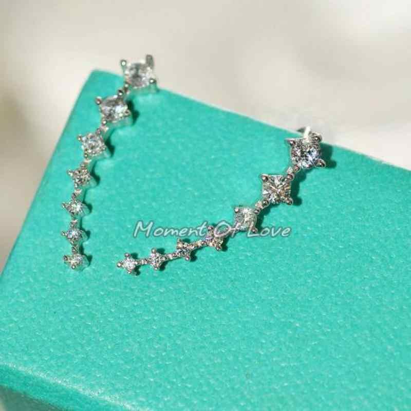Fashion terbaru Super Cute Korea Desainer Flash Lima Persegi Zircon Earrings, tujuh Star Berlian Imitasi Klip Telinga Perhiasan