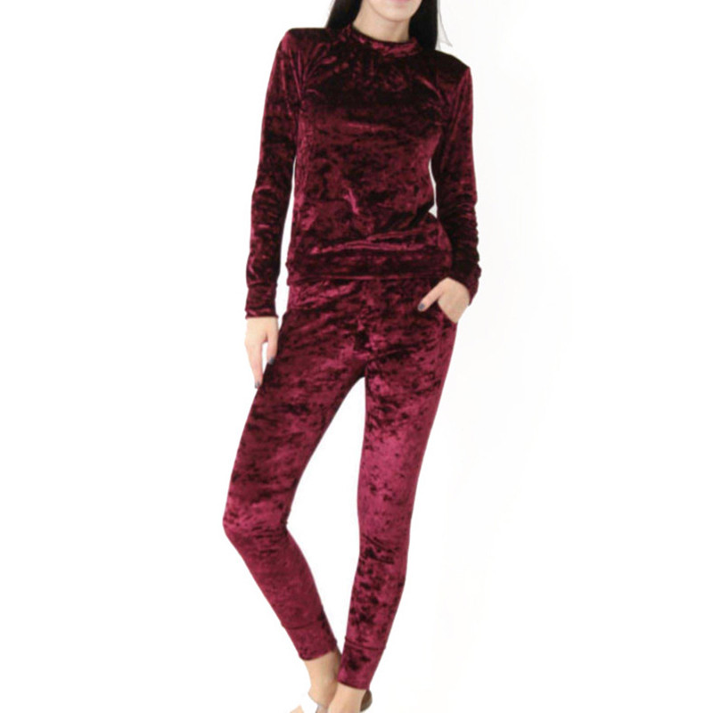 Autumn Women Warm Velvet 2 Two Piece Set Tracksuit Velour Smooth Soft Home Suit Women Fitness Set