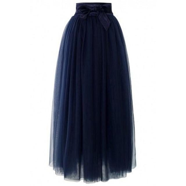 f93f2f761381 Dark Navy Blue Full Maxi Skirt Satin Waistline A Line Floor Length Long  Tulle Skirt Flare Cut Women Skirts Adult
