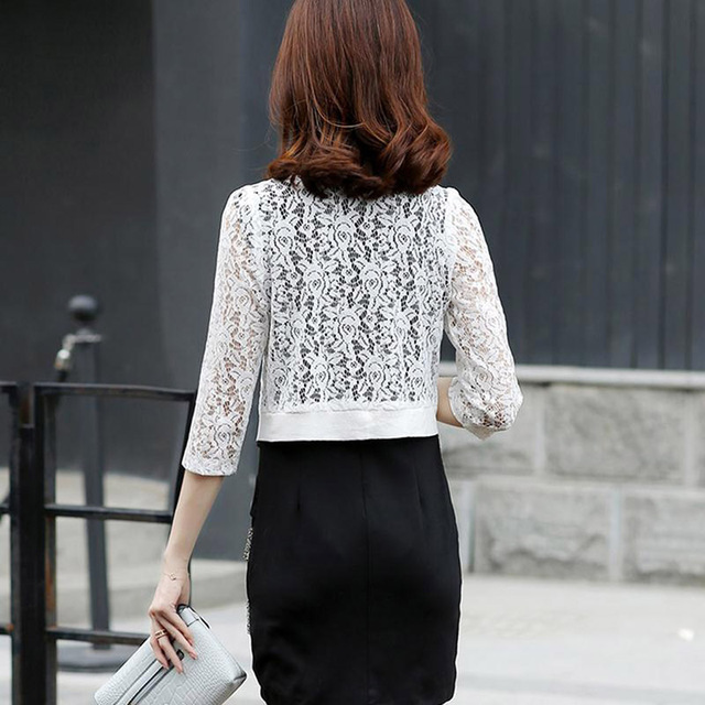 Summer Floral Blouse Women Lace Cardigan Short Beach Cover Up Tops Ladies Shirts Loose Blusas 3