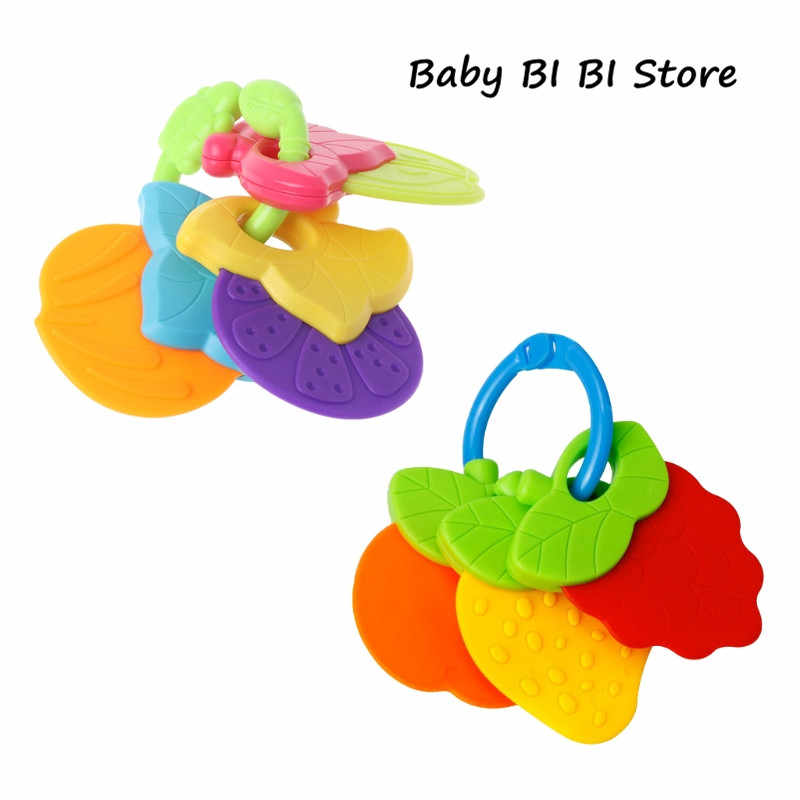Baby Teether Fruit Shape Silicone Safe Teething Chew Toys Infants Pacifier Gifts