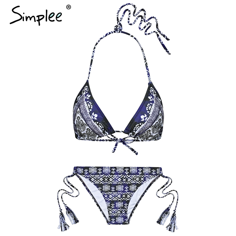 Simplee Sexy print two piece intimates Push up thong sexy underwear women  2018 Summer beach tropical 1c686211a