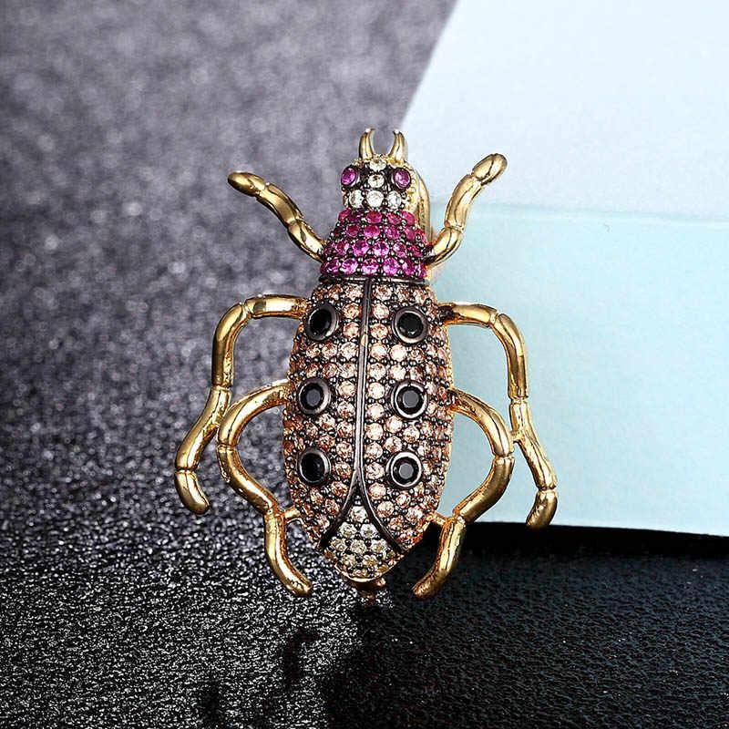 Zlxgirl jóias Zircão Cúbico de Alta Qualidade beetle broche para homens presentes da caixa de Cobre pinos cachecol Acessório de moda Broche Pingente